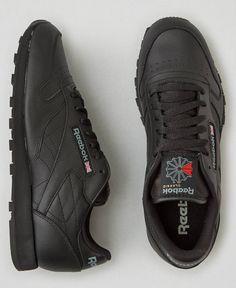 AEO Reebok Classic Leather Sneakers, Men's, Black Reebook Shoes, Best Sneakers, Sneakers Nike, Reebok Freestyle, Mens Outfitters, Classic Leather, Leather Sneakers, Black Men, Footwear