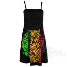 Rasta and Reggae Aztec Calendar Short Smocked Dress - Women's @ RastaEmpire.com