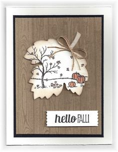 The card - stamped images are from SU. I die cut the leaf, then stamped the image and then sponged a bit on the edge. The wood backgro...
