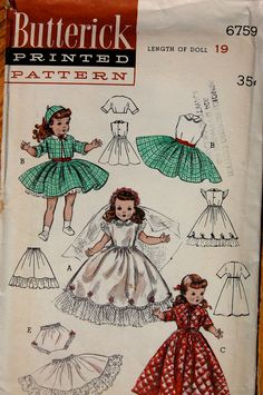 "Vintage Sewing Pattern - Butterick 6759, 19"" Doll Clothes for Toni Doll"