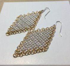 Sterling Silver Earrings, silver earrings, diamond earrings, chain mail earrings, silverbymaggie,drop earrings, woven earrings,gifts for her by SilverByMaggie on Etsy