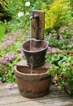 Iron Tap Bucket and Barrel Cascade Water Feature Fountain Cascade Garden Outdoor Front Yard Garden Design, Small Front Yard Landscaping, Yard Design, Landscaping Ideas, Diy Garden, Garden Art, Rustic Gardens, Outdoor Gardens, Cascade Water