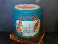 Your place to buy and sell all things handmade Rustic Cutting Boards, Ski Decor, Tin Containers, Happy Year, Vintage Tins, Tin Boxes, Old Paper, Metal Tins, Coffee Cans