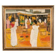 Georges Borgeaud - Marché à Ceylan, 1979 - Huile sur toile, 97 x 114 cm. Painting, Art, Oil On Canvas, Art Background, Painting Art, Kunst, Paintings, Performing Arts, Painted Canvas