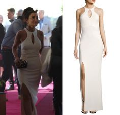 f17712343e93 Hermione Lodge (Marisol Nichols) wears this white cut out split leg gown in  this episode of Riverdale