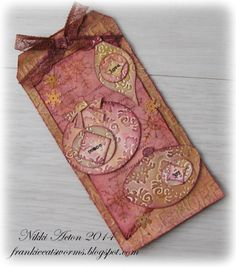 Addicted to Art: So much on one tag... use my Tim Holtz ornament dies; Nov 2014