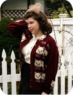 Vixen Vintage: Another cat sweater. Are you surprised?