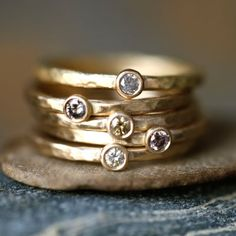18K Brown Diamond Stacking Rings / Heike Grebenstein Fine Jewelry
