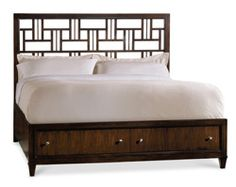 Home Furniture | Bedroom Furniture | Ludlow | Queen Fretwork Storage Bed - By Hooker Furniture
