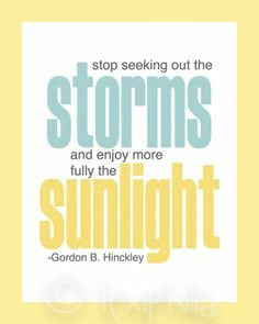 """Stop seeking out the storms and enjoy more fully the sunlight."" Gordon B. Hinckley. How true is this? How often we look for the drama or create additional stress rather than enjoy the peace."