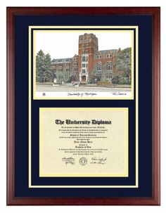 UNIVERSITY OF MICHIGAN Diploma with Artwork in Classic Mahogany Frame Old School Diploma Frame Co.