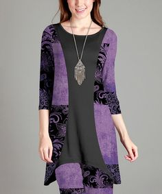 Another great find on #zulily! Black & Purple Damask Tunic - Plus #zulilyfinds
