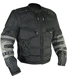 Xelement CF5050 Mens Black/Grey Cordura Armored Jacket with Removable Sleeves - Medium