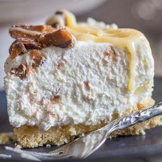 a slice of no bake cheesecake