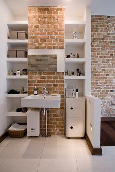 between exposed chimney breast Stone Bathroom, Attic Bathroom, Upstairs Bathrooms, Bathroom Renos, Small Bathroom, Bathroom Ideas, Bad Inspiration, Bathroom Inspiration, Attic Spaces