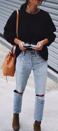 #winter #fashion /  Black Knit + Destroyed Bleached Jeans