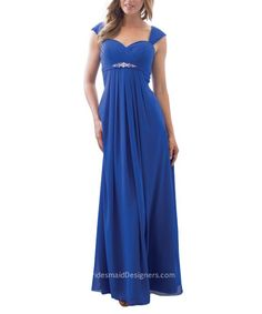 Chic blue long chiffon bridesmaid dress has wide straps for cap sleeves, sweetheart bodice is accented with crystals on the empire waist, long shirt flows airy.