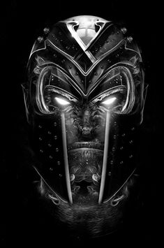 #Magneto #helmet - Black and white illustration from digital artist Obery Nicolas