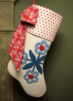 Is it too early for Christmas? Red, White and Blue Flowers Vintage Chenille Stocking