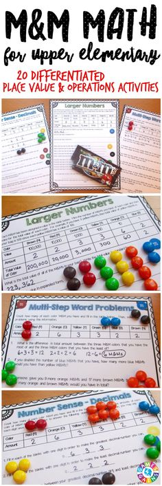 This M&M's Math Project contains 20 yummy pages of DIFFERENTIATED math activities! Just grab some bags of M&M's and get ready for your students to have tons of fun practicing number sense, place value, and operations! Ideal for grades 4-6.
