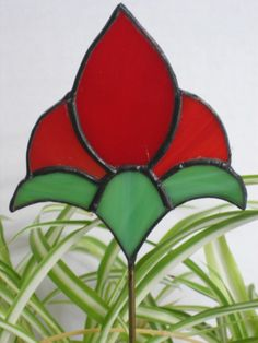 Red Tulip Stained Glass Plant Stake Garden Stake by GlassPizazz, $17.00