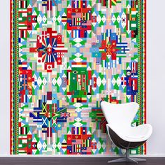 A digitally produced wall covering. Flags of the world. http://www.tangletree-interiors.co.uk