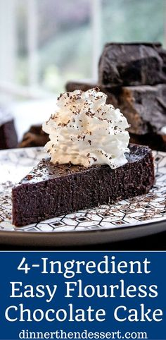 Flourless Chocolate Cake with just 4 ingredients and 5 minutes of prep time. Perfect for Passover, Easter or anytime you want the richest, easiest cake. Gluten Free Pie, Gluten Free Cakes, Gluten Free Desserts, Keto Desserts, Flourless Desserts, Dairy Free, Flourless Chocolate Torte, Chocolate Desserts, Chocolate Lava