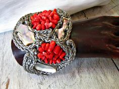 coral and rope cuff