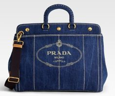 Prada | ... Nike gym suit, carrying a beautiful Prada Logo Denim Top Handle Bag