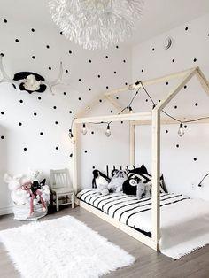 Nursery decor, Scandinavian nursery, Yellow and black baby room, Nursery art wall, Baby room gallery wall Baby Bedroom, Girls Bedroom, Bedroom Ideas, Trendy Bedroom, White Kids Room, White Boys, Black White, Polka Dot Walls, Polka Dots