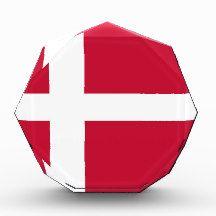 Flag of Denmark Award flag, nation, banner, award, gift, acrylic, octagon, country, zazzle, smallbiz, ecommerce, dww25921