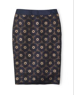 19b9aba6d7 BODEN Modern Pencil Party Skirt size 12R Blue Black Gold Jacquard #fashion  #clothing #