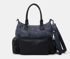 Sac porté épaule combiné Desigual bleu/noir - Sacs Desigual - Ventes-pas-cher.com Balenciaga City Bag, Gym Bag, Shoulder Bag, Bags, Shoulder Bags, Purse, Cheap Designer Purses, City Bag, Handbags