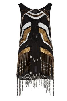 Black and Gold Flapper Dress