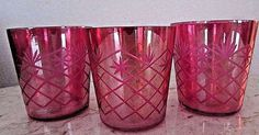 """Vintage Carnival Iridescent Red Rose Cut Glass Criss Cross Pattern Tumblers 3"""""""