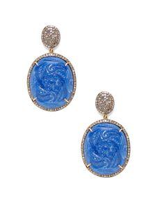 Quartz & Pave Champagne Diamond Drop Earrings