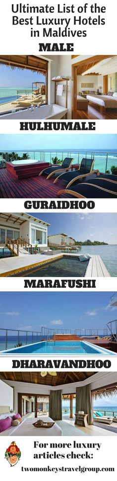 In this article, you will find the following – Best luxury hotels in Male; Best luxury hotels in Maafushi; Best luxury hotels in Hulhumale; Best luxury hotels in Thulusdhoo; Best luxury hotels in Gulhi; Best luxury hotels in Ghuraidhoo; Best luxury hotels in Dharavandhoo; and Best luxury hotels in Rasdu.