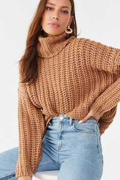 A chunky ribbed knit sweater featuring a turtleneck, dropped long sleeves, and an oversized fit. Knit Sweater Outfit, Preppy Sweater, Turtleneck Outfit, Ribbed Turtleneck, Sweater Shop, Jumper, Fall Winter Outfits, Winter Fashion, Cute Sweaters