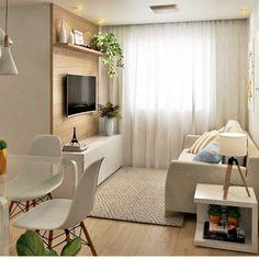 Sala pequena decorada: 70 inspirações e ideias para você! Living Pequeños, Condo Living, Small Living Rooms, Home Living Room, Living Room Designs, Living Room Decor, Small Apartment Interior, Condo Interior, Apartment Design