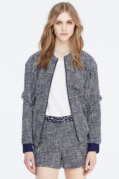 DVF Braelyn Tweed Bomber Jacket | Landing Pages by DVF