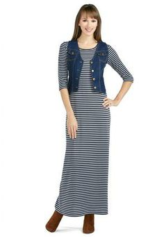 Cato Fashions Striped Maxi Dress and Vest Set #CatoFashions. This site has some cute dresses and skirts, and the prices are not bad!