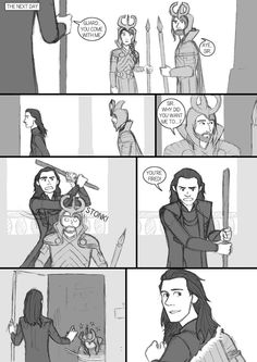 "And in my script was simply written ""Loki hits him with a bar."" xD Another thing: Notice the female guard in the first panel. After Thor TDW - comic-fanfic - page 20 Loki And Sigyn, Loki Thor, Loki Laufeyson, Tom Hiddleston Loki, Loki Drawing, Avengers Memes, Comic Page, Marvel Fan, Marvel Movies"