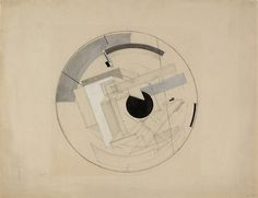 El Lissitzky (Russian: 1890-1941), Sketch for Proun 6B, c.1919-21. Pencil and gouache on paper.