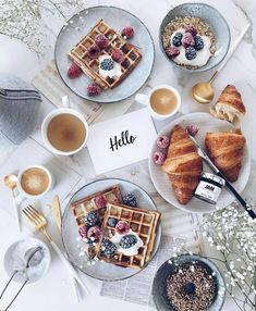 waffles, croissants, donuts, coffee