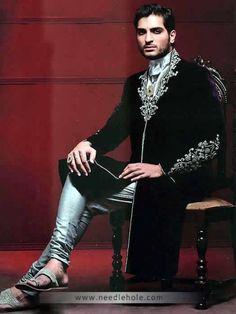 Traditional Velvet Wedding Sherwani, Embellished Collar, Neckline and Sleeves, Black
