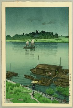 Kawase Hasui: Arakawa River in May Rain - Artelino - Ukiyo-e Search