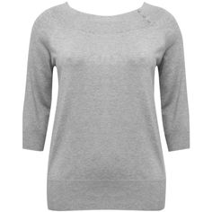 M&Co Plus Bardot Neck Jumper ($33) ❤ liked on Polyvore featuring tops, sweaters, grey marl, plus size, 3/4 sleeve sweaters, plus size jumpers, marled sweater, button sweater and plus size tops