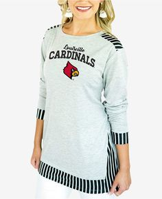 95d583d02246 Couture Gameday Women s Louisville Cardinals Striped Panel Long Sleeve T- Shirt Iowa State Cyclones
