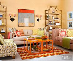 "Airy Spring Switch...Create a casual living room that sings ""spring"" and brims with juicy citrus colors. Add brightly colored vases, spunky patterned pillows and rugs, and flea market finds to your space for a fresh feel without spending a fortune."