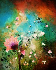 "Saatchi Art Artist Henrieta Angel; Painting, ""Abstract floral ""Strangely beautiful""sold"" #art"
